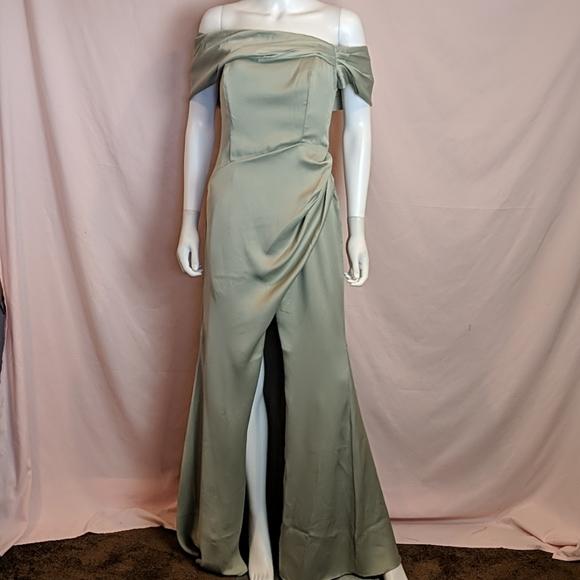 ASOS Satin Bardot Drap Wrap Sage Green Maxi Dress